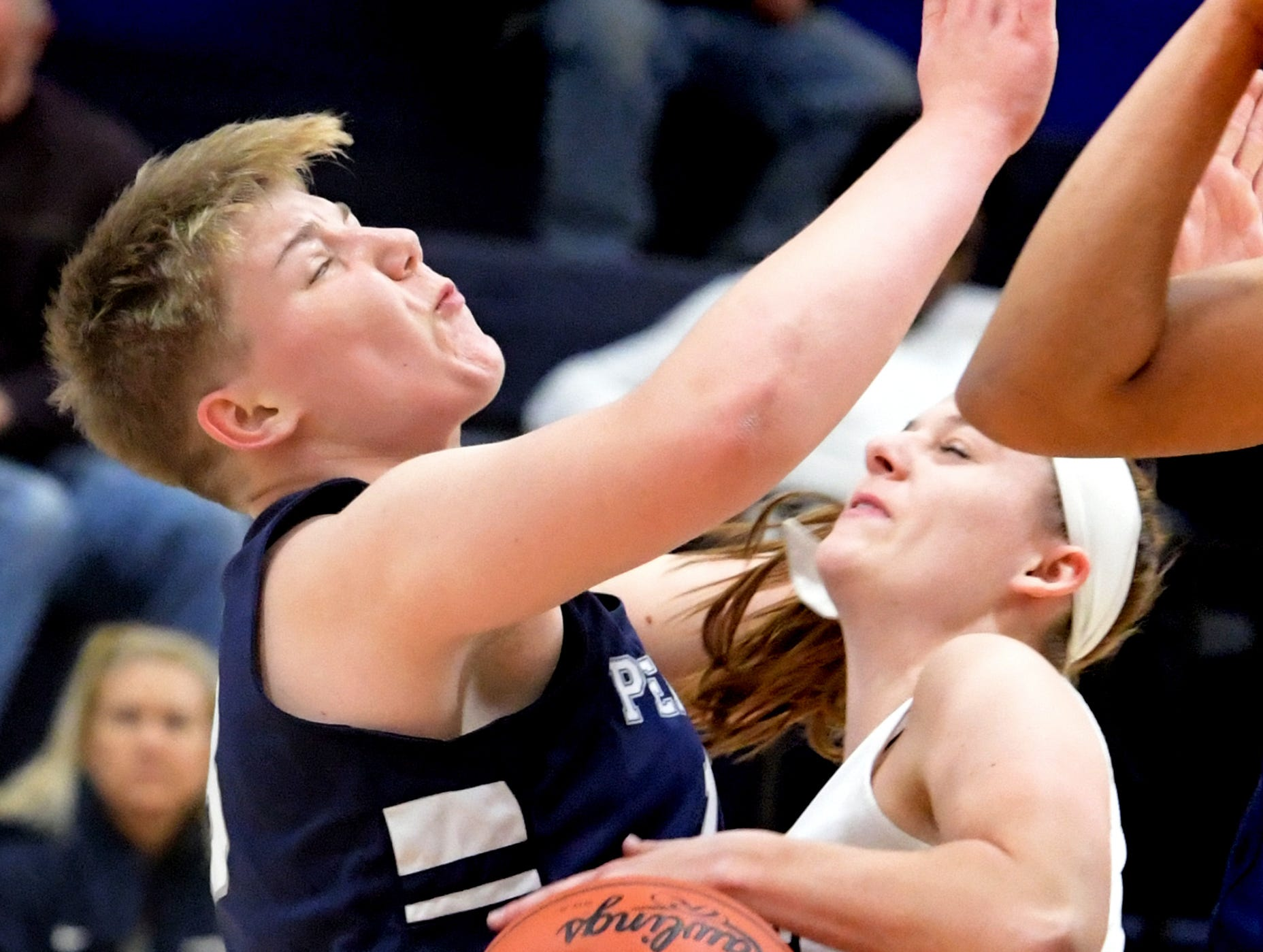 Penn State York's Janelle Kress is called for the charge on Penn State Wilkes-Barre's Victoria Benning during action in York Tuesday, Nov. 27, 2018. Bill Kalina photo