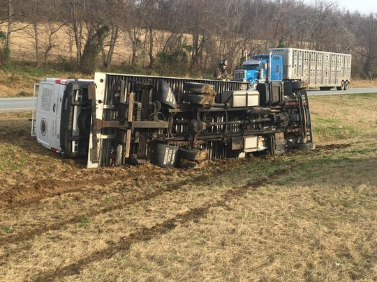 A crash caused a traffic disruption on Route 30 eastbound near Wrightsville Wednesday, Nov. 28. Photo courtesy of Hellam Township Police.