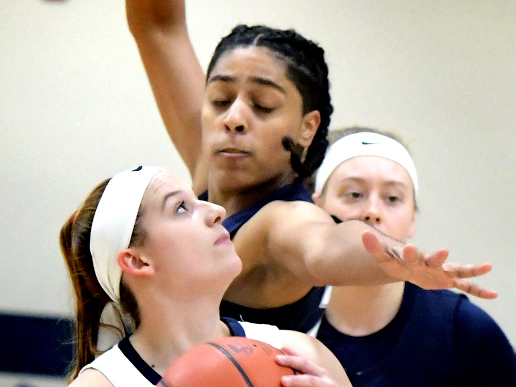 Penn State York's Janelle Kress looks for the hoop with Penn State Wilkes-Barre's Genesis Rodriguez defending during action in York Tuesday, Nov. 27, 2018. Bill Kalina photo