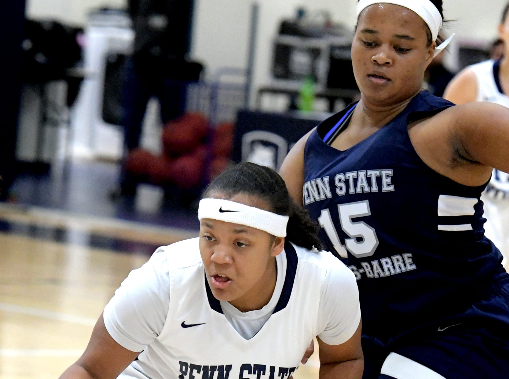 Penn State York's Charizma Johnson drives the lane with Penn State Wilkes-Barre's Leeandra Ricks defending during action in York Tuesday, Nov. 27, 2018. Bill Kalina photo