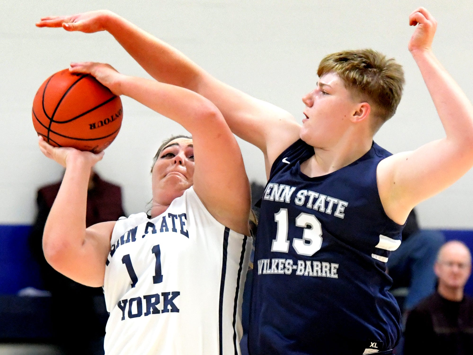 Penn State York's Ashton Ball has a shot blocked by Penn State Wilkes-Barre's Victoria Benning during action in York Tuesday, Nov. 27, 2018. Bill Kalina photo