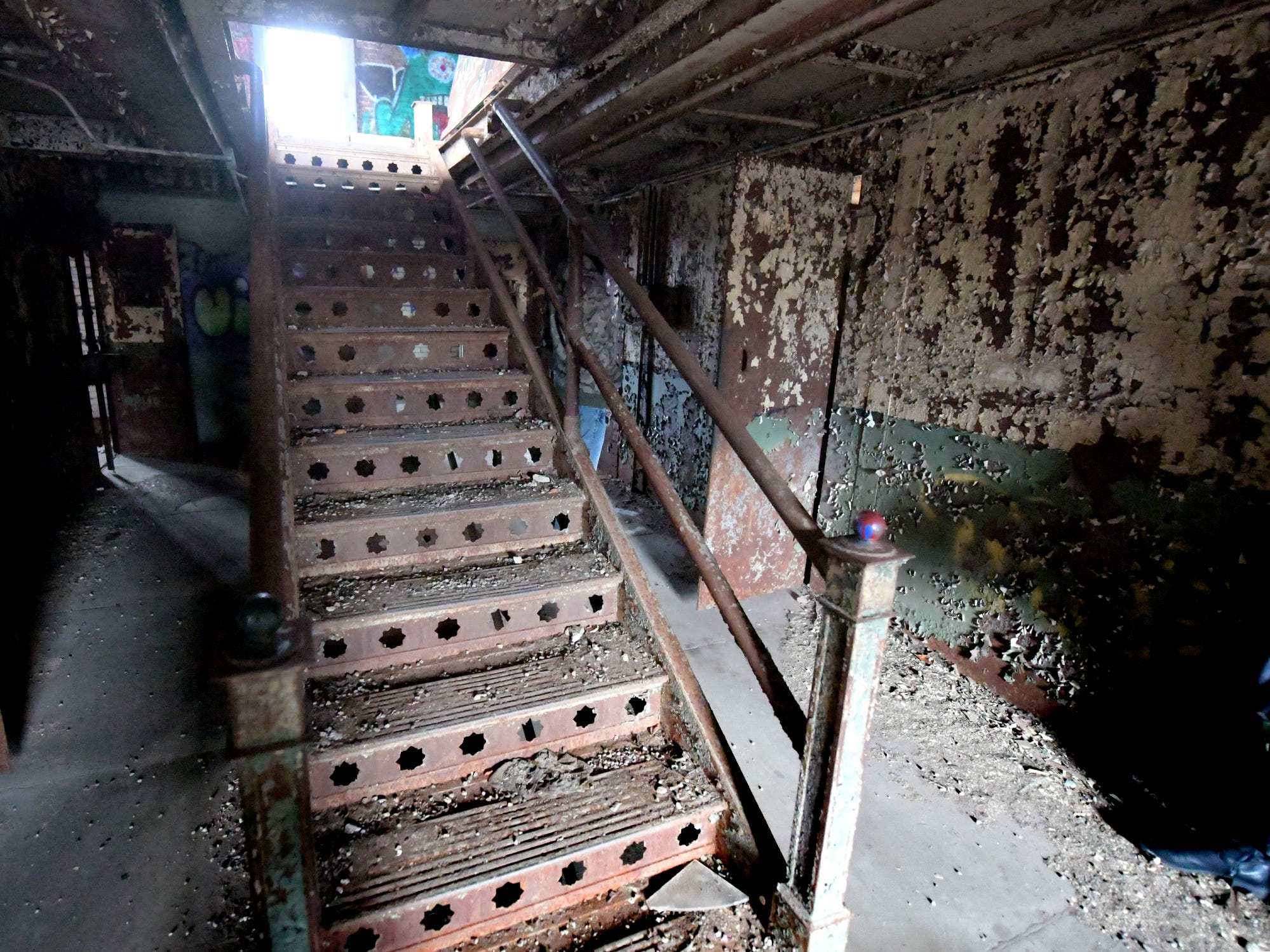 A stairway in the former York County Prison on Chestnut Street in York City Wednesday, Nov. 28, 2018. United Fiber and Data has purchased the building and plans to incorporate the structure into a data center to accompany a 400-mile fiber-optic network it's building between New York and Virginia. Bill Kalina photo