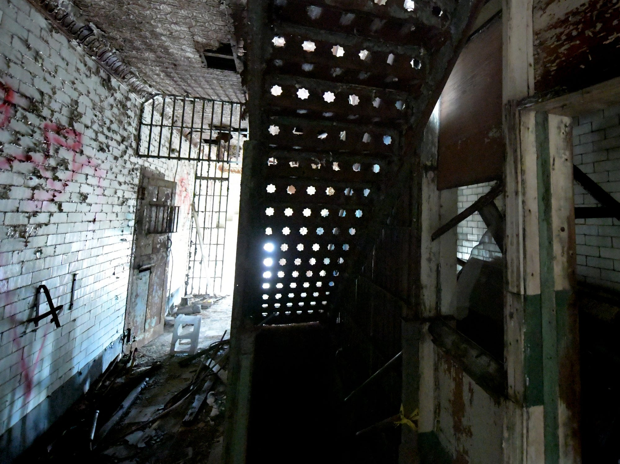 A staircase at the former York County Prison on Chestnut Street in York City Wednesday, Nov. 28, 2018. United Fiber and Data has purchased the building and plans to incorporate the structure into a data center to accompany a 400-mile fiber-optic network it's building between New York and Virginia. Bill Kalina photo