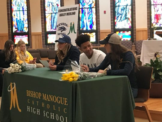 Bishop Manogue had three athletes sign for college on Tuesday, Hailey Merlino, Josh Rolling and Maggie Joseph.