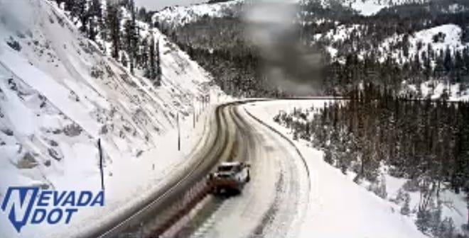 Traffic camera shot: Snow covers Nevada 431 (Mt. Rose Highway) at 9 a.m. Wednesday, Nov. 28, 2018. A storm dropped several inches overnight and more is on the way, according to the National Weather Service.