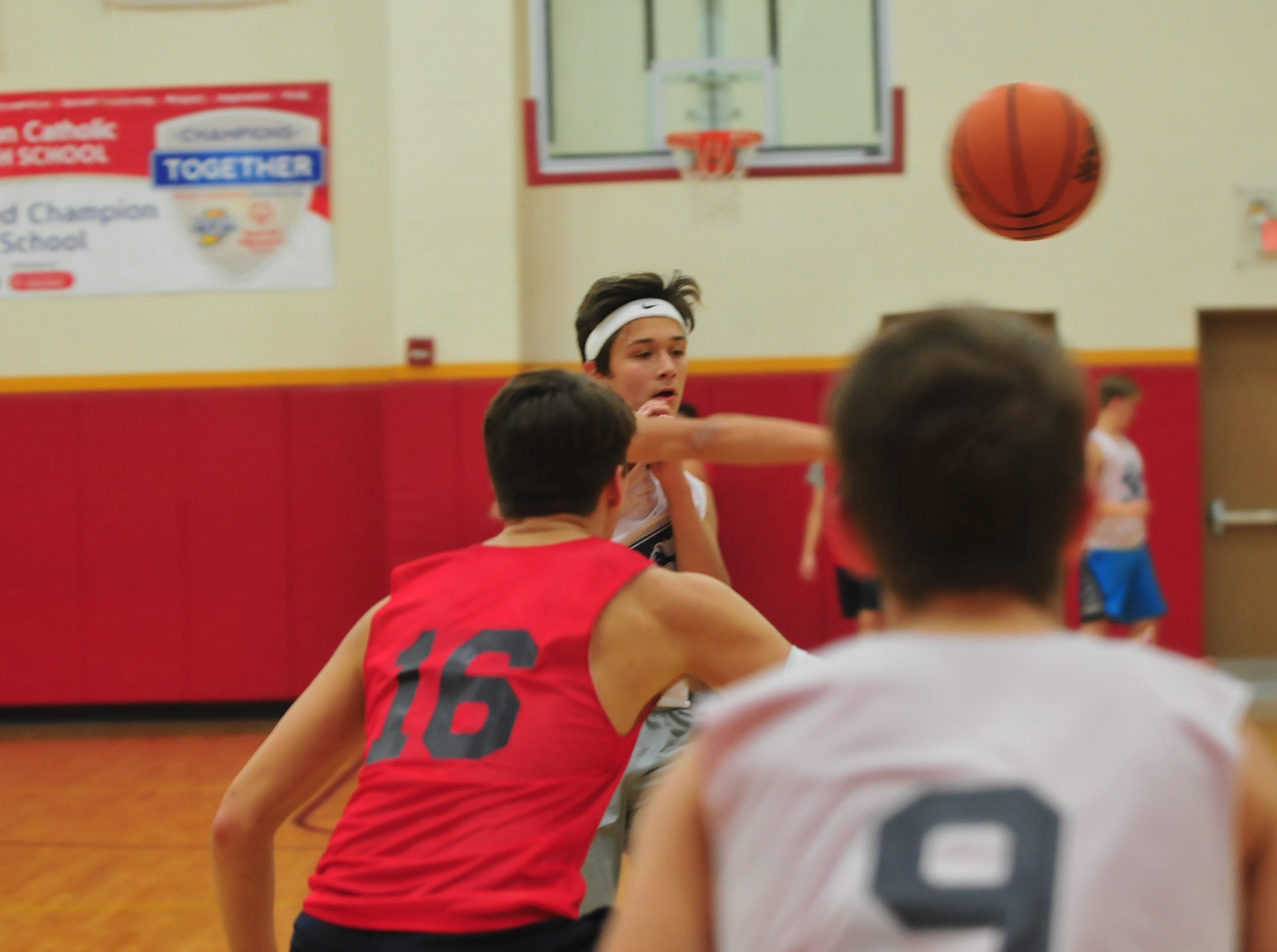 Seton Catholic boys basketball players practice Wednesday, Nov. 28, 2018.
