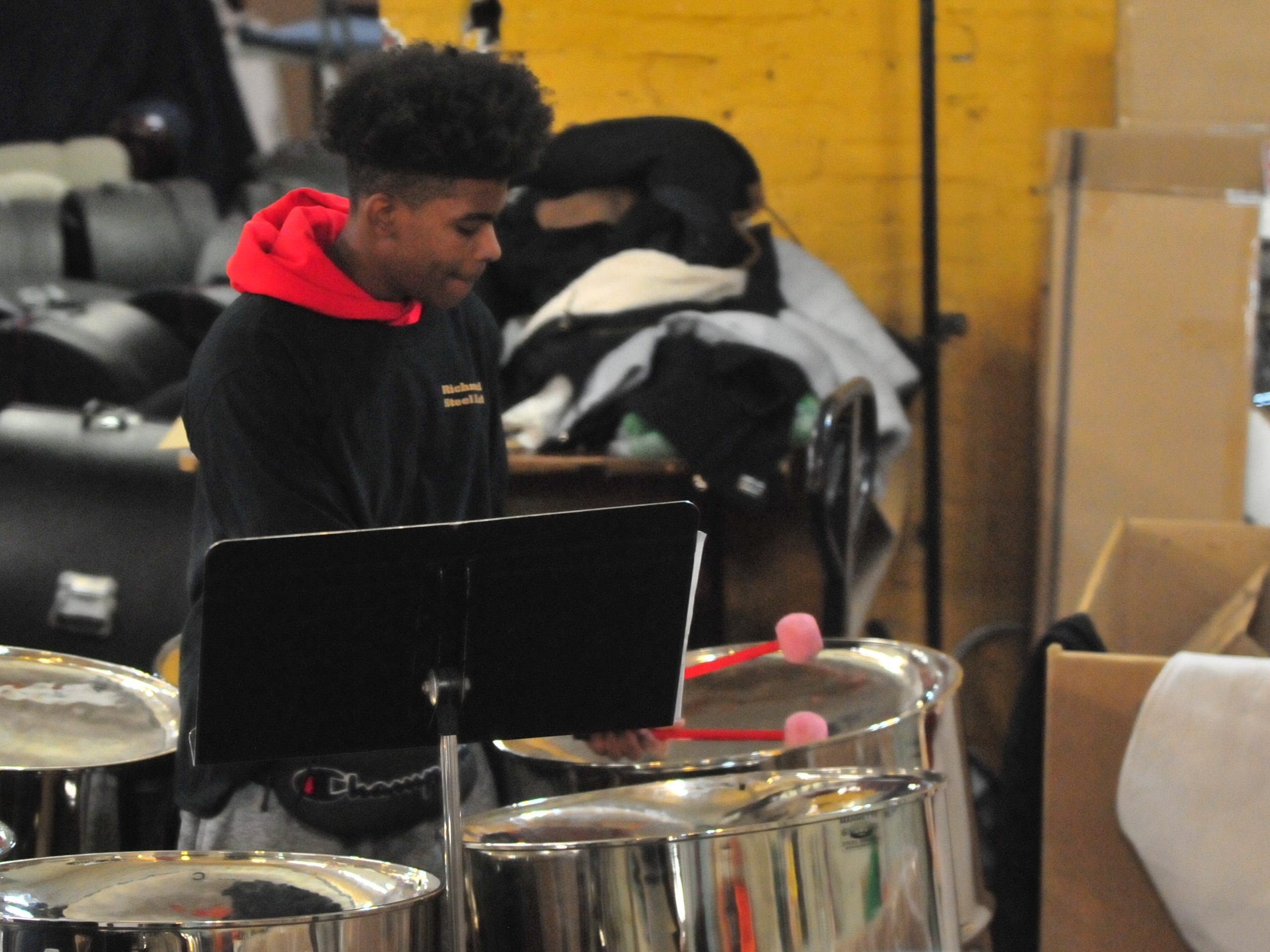 Richmond High School's steel drum ensemble entertained Tuesday during the 14th annual Old-Fashioned Christmas Festival.