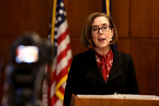 Gov. Kate Brown speaks on her recommended budget and policy agenda for the next two years at the Oregon State Capitol in Salem on Wednesday, Nov. 28, 2018.