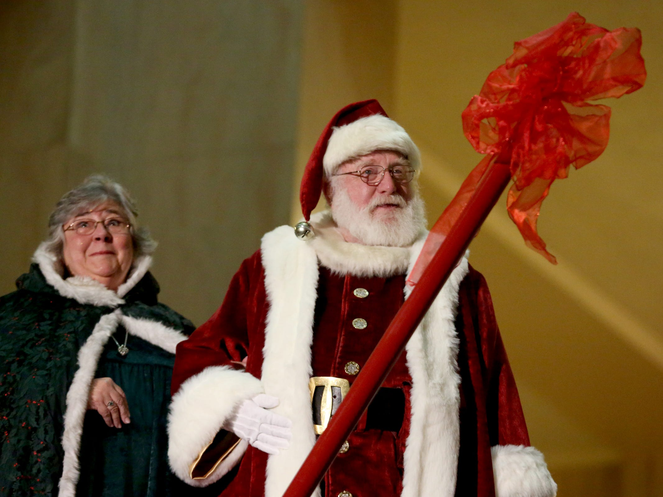 Santa and Mrs. Claus attend the Holiday Tree Lighting Celebration at the Oregon State Capitol in Salem on Tuesday, Nov. 27, 2018.