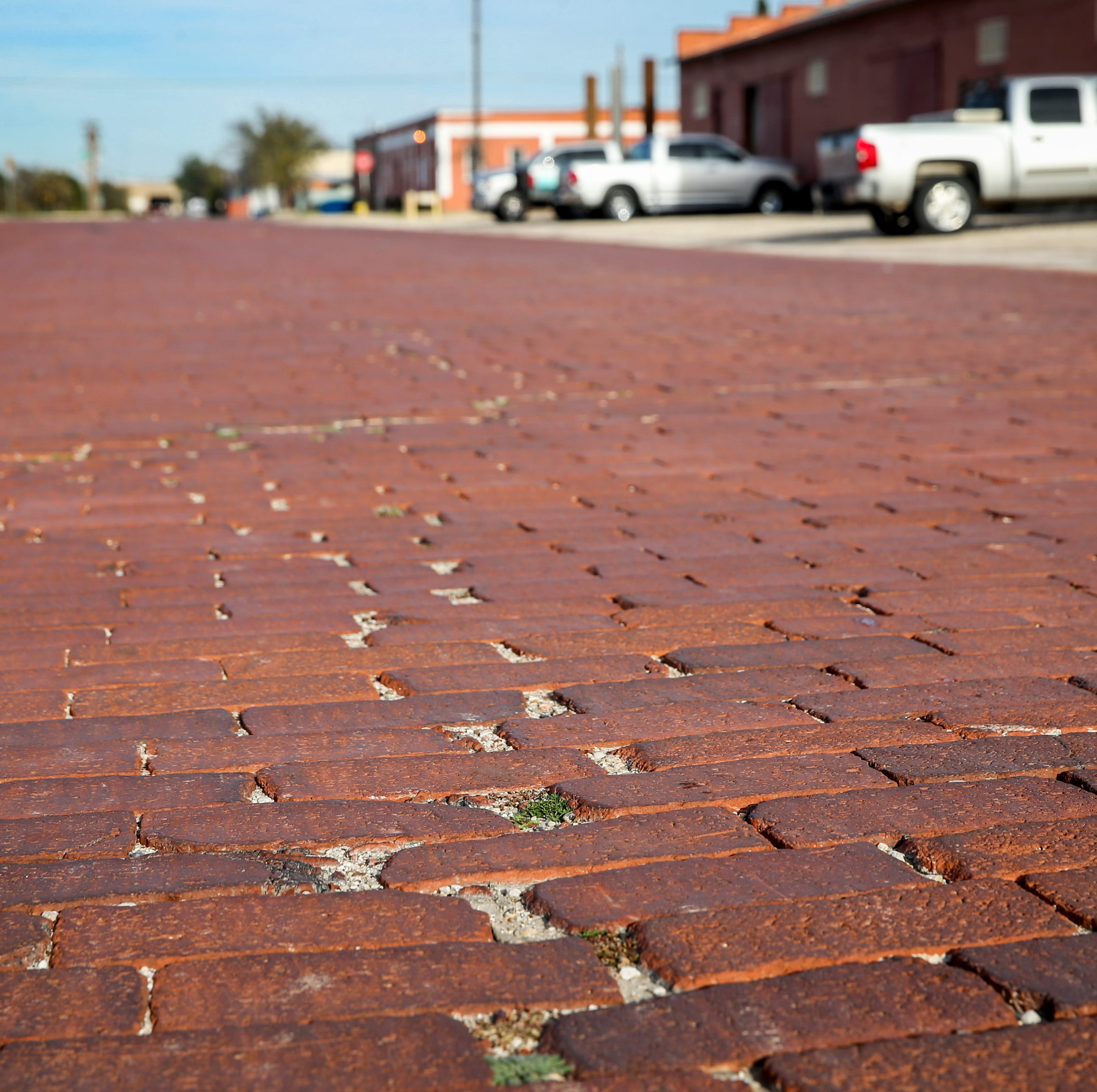 Part of San Angelo's paving history displayed on the last brick street in town