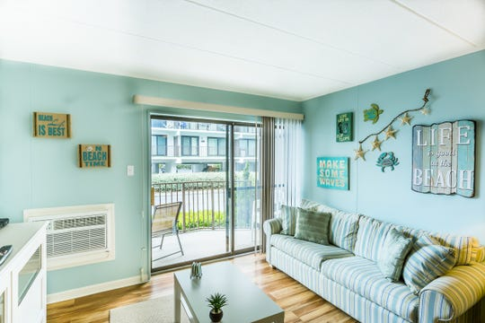 This Airbnb property in Ocean City managed by Anita Ammon has a coastal theme to match its proximity to the beach.