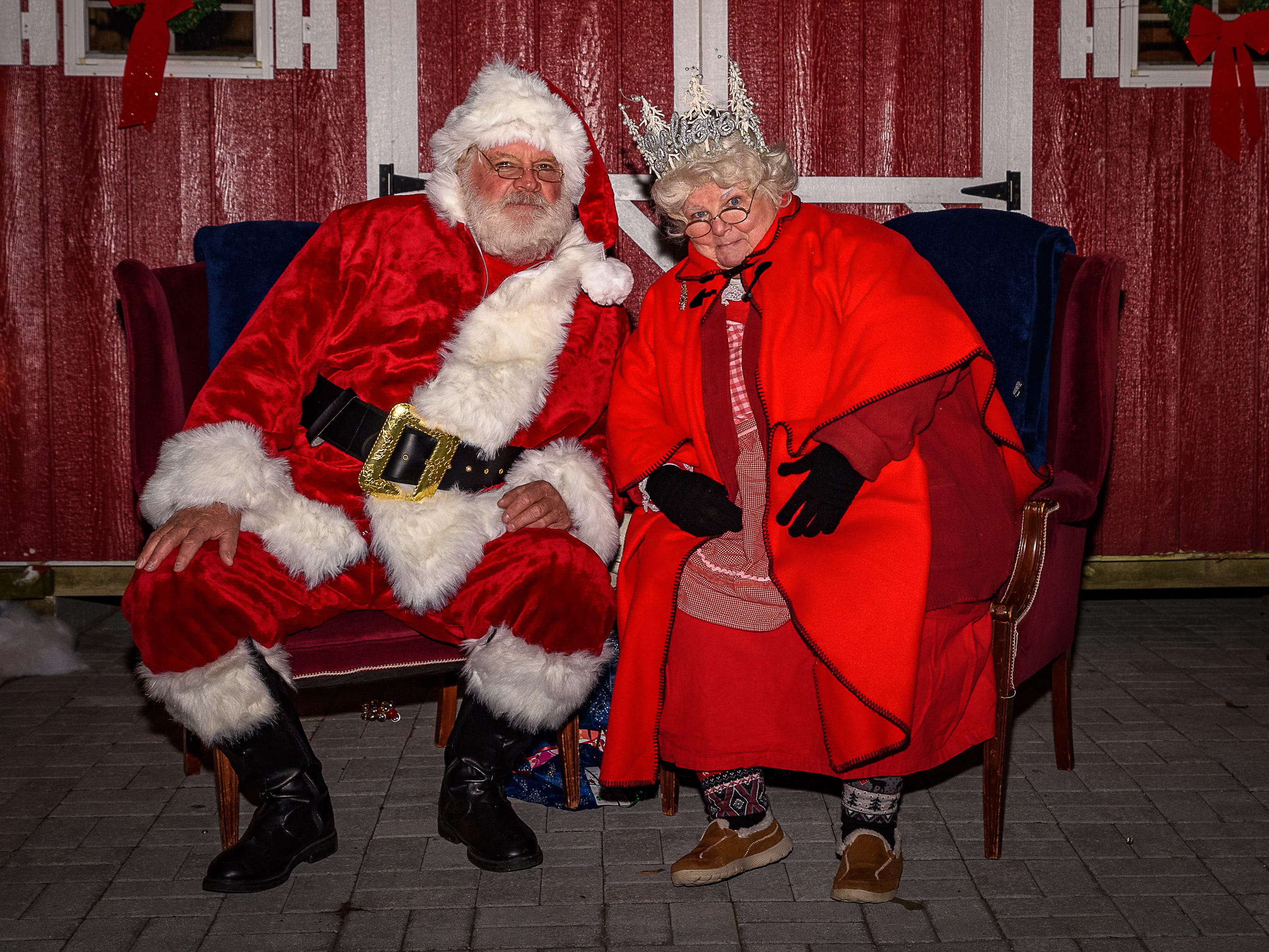 Santa and Mrs Claus hold court at the first Festive Friday in downtown Cape Charles on Nov. 23. The town hosts fice nights of festive fun leading to Christmas on Fridays, Nov. 30, Dec. 7, Dec. 15 and Dec. 21. Enjoy music, visits with Santa, caroling, carriage rides, Christmas movies and more at these events.