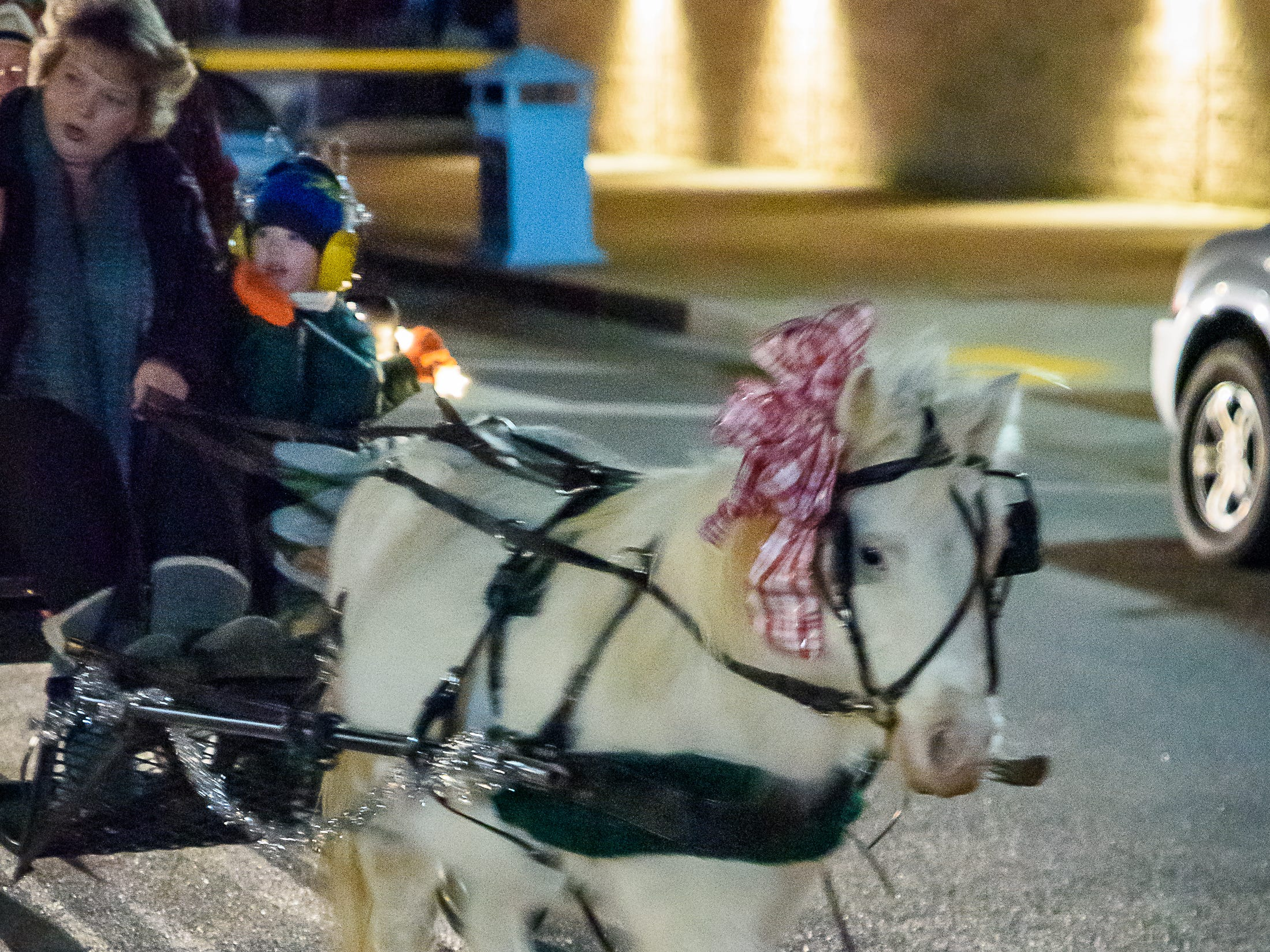 A lighted horse parade was one of the attractions of the first Festive Friday of the season in Cape Charles.