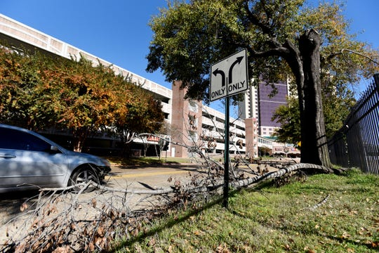 Tree branch that has lain along Fannin Street in downtown Shreveport for months, as seen from the west. Photo from Wednesday, Nov. 28, 2018.
