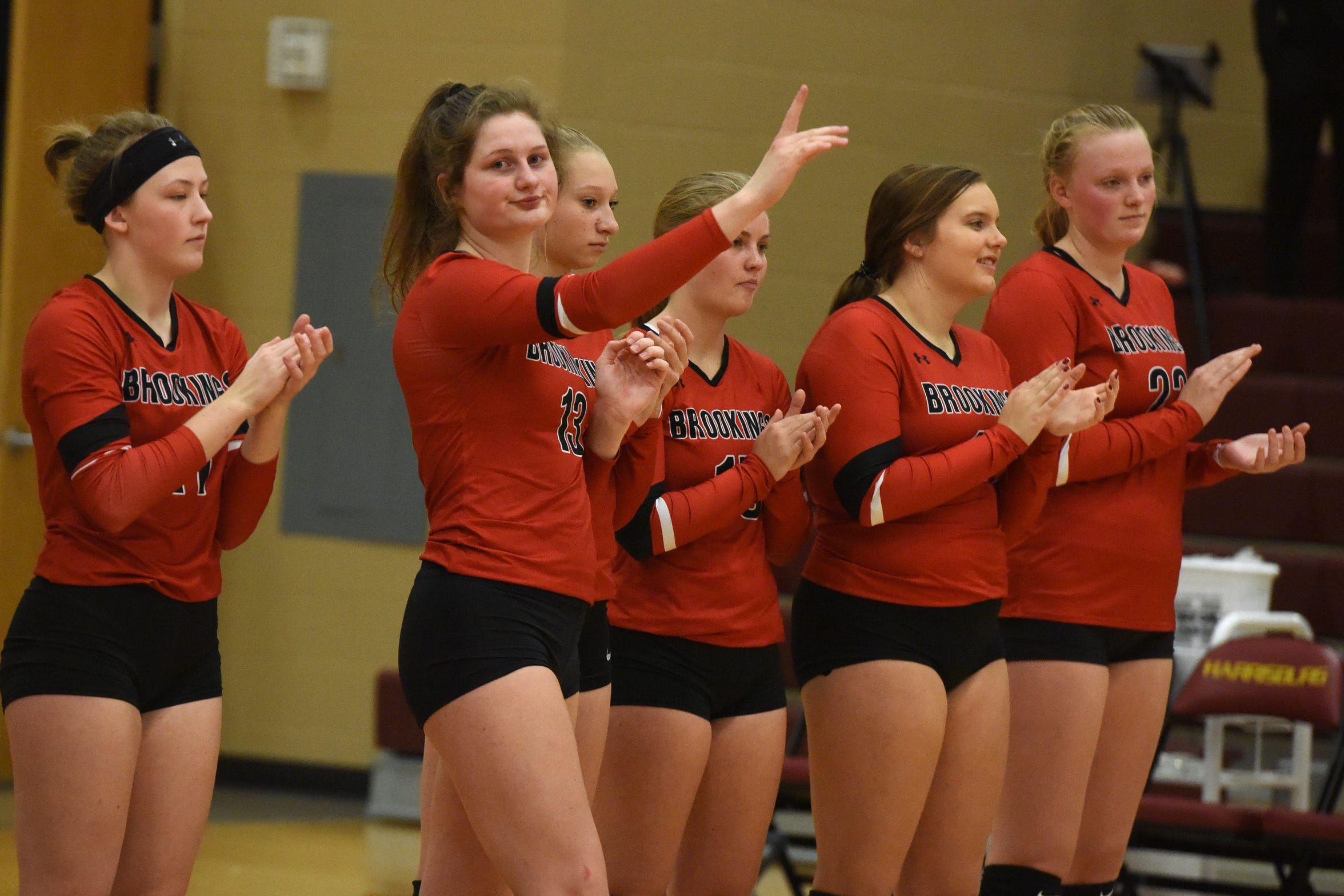 Brookings' Michaela Jewett (13) gets introduced before a match against Harrisburg Tuesday, Oct. 30, 2018 in Harrisburg, S.D.