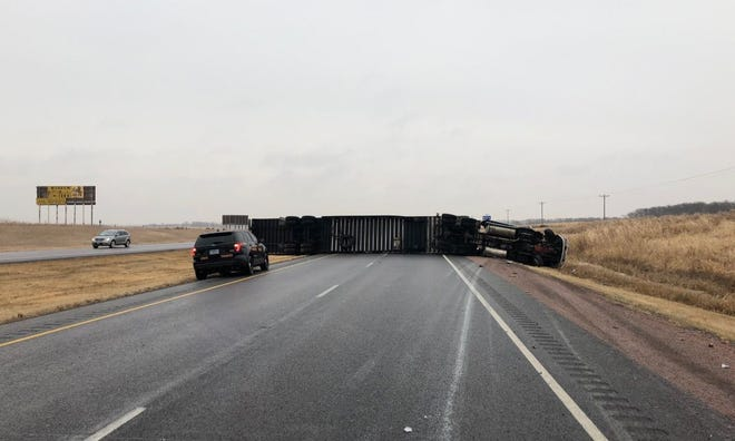 A semi-truck rolled on Interstate 29 near the Beresford exit on Wednesday, Nov. 28, 2018.