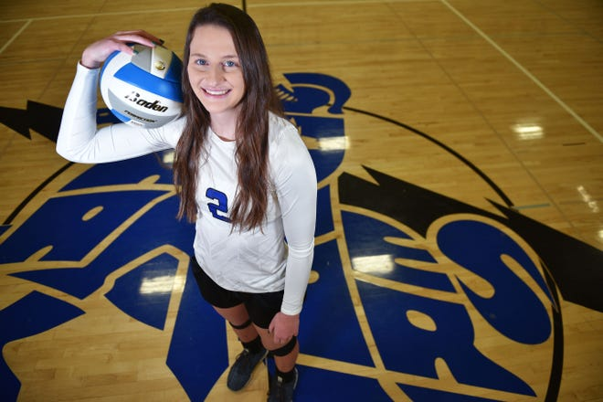 Sioux Falls Christian senior and Argus Leader Super Six Player of the Year Kylee Van Egdom at the Sioux Falls Christian gym Wednesday, Nov. 28, in Sioux Falls. Van Egdom has won three state titles with her team during her time at Sioux Falls Christian.