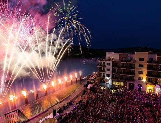 Branson Landing's Liberty Light Up celebration is shown in this publicity photo. It took place in July 2018. Branson Landing would be able to have more outdoor alcohol sales if a state law is passed in the next legislative session. Branson's board of aldermen passed a resolution in favor of such a law on Nov. 27, 2018.