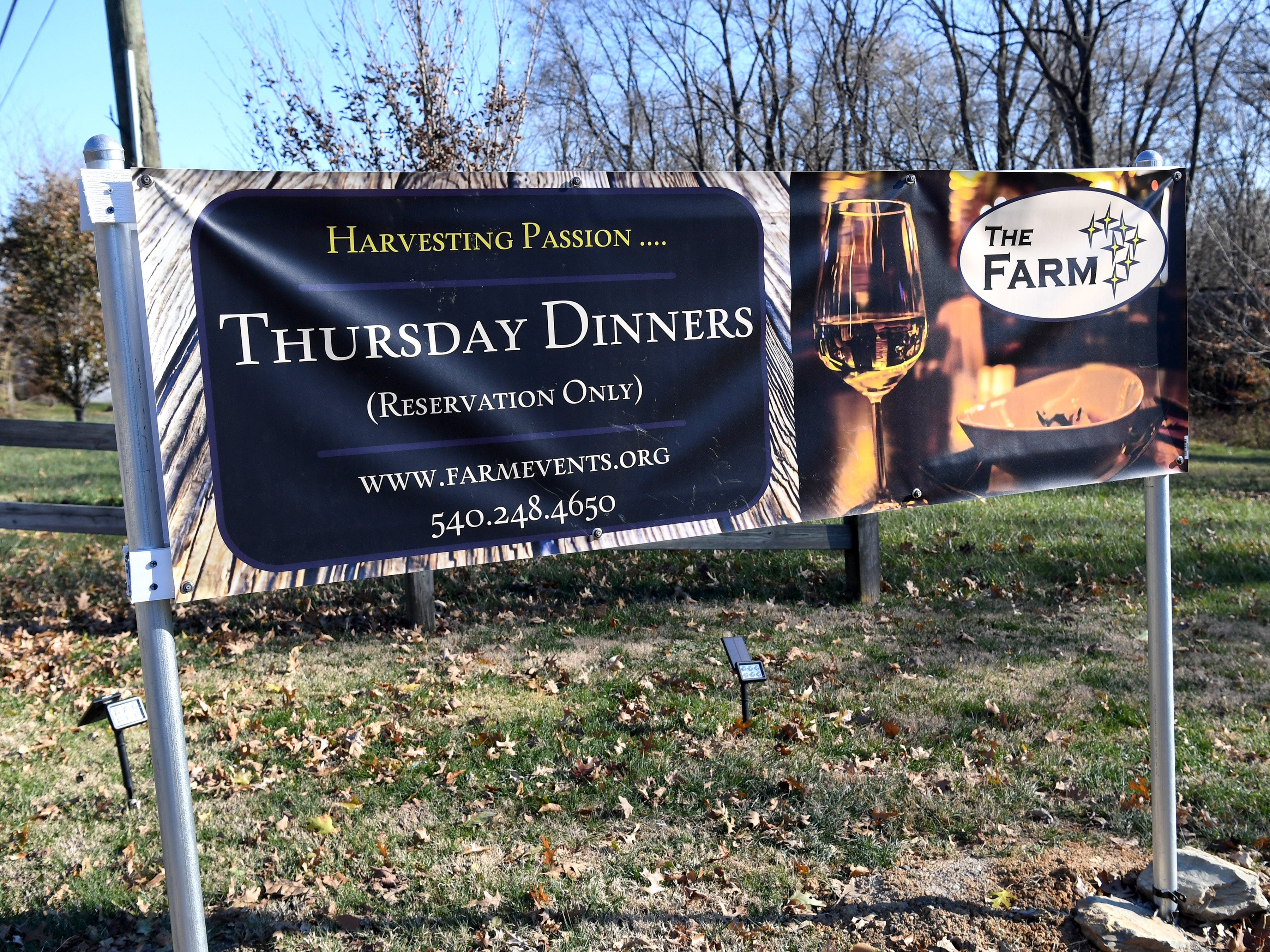 A sign advertising Thursday dinners (reservation only at the Inn at WestShire Farms in Staunton.