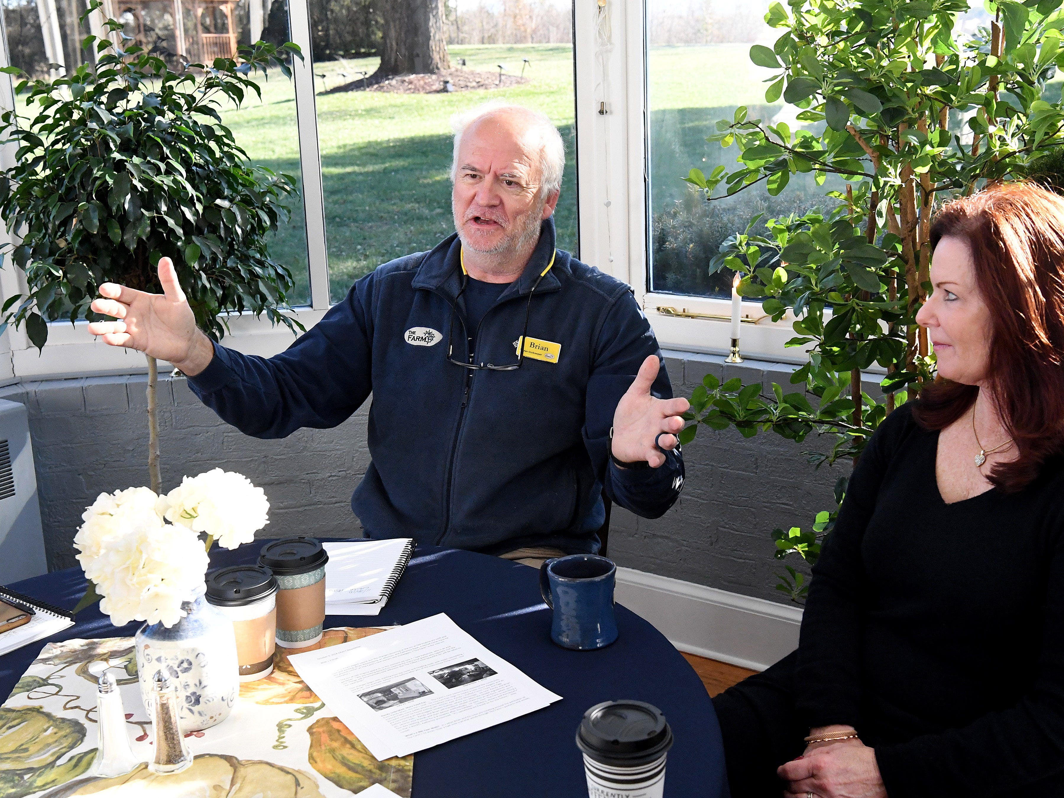 Co-owner and innkeeper Brian Westenberg talks about property for the inn, sitting next to co-owner and fellow innkeeper Katherine Rook, during an interview at the Inn at WestShire Farms in Staunton on Wednesday, Nov. 28, 2018.
