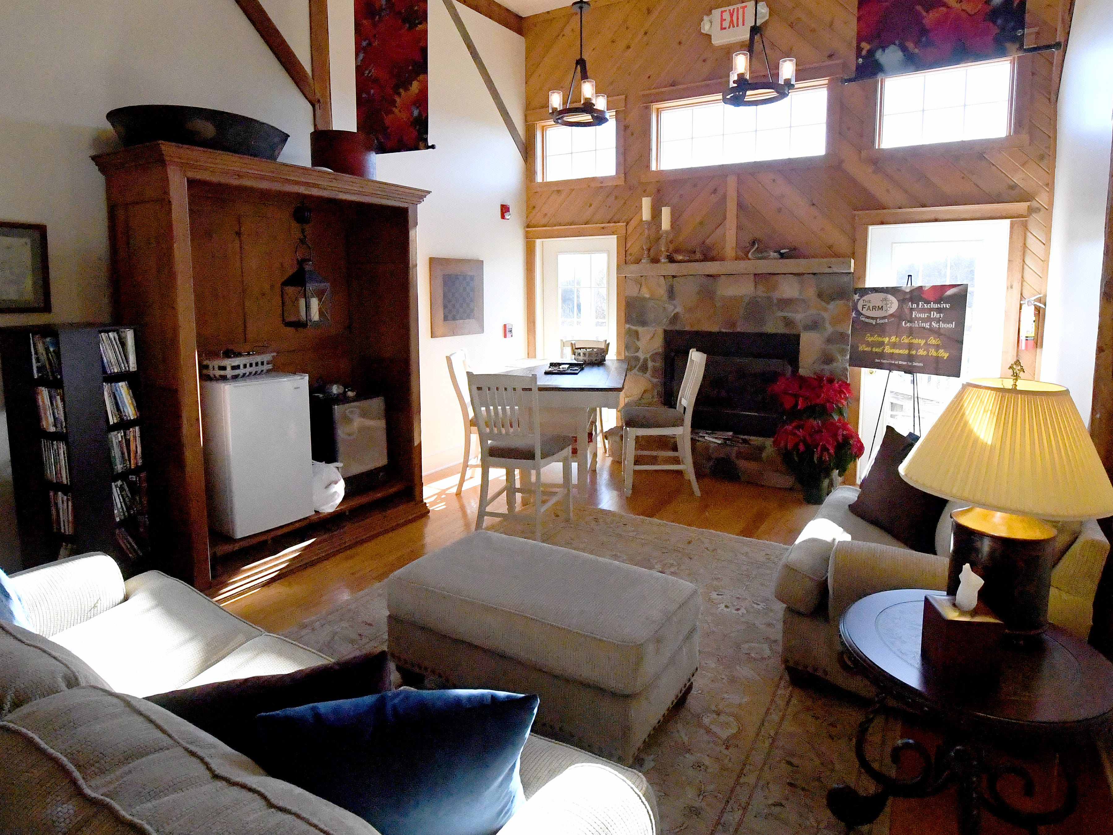 A shared common room inside the Millstone Barn at the Inn at WestShire Farms in Staunton.