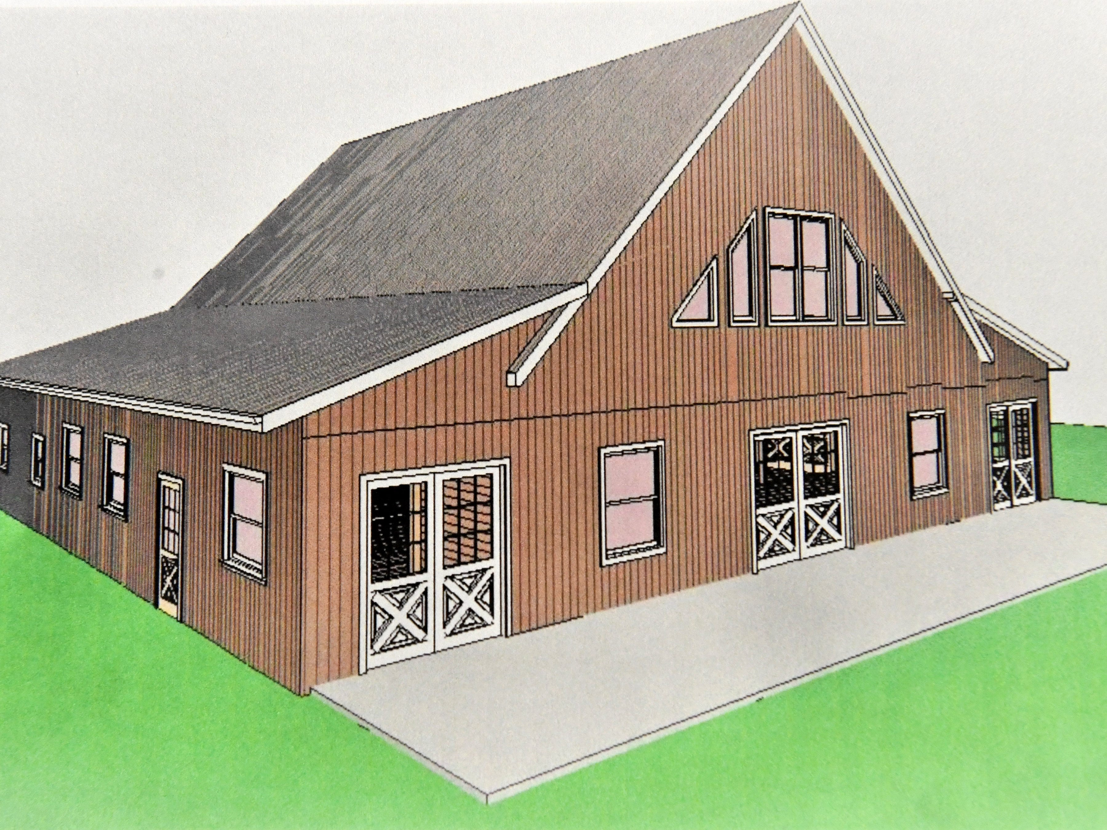 Artist rendering an future event barn planned for the Inn at WestShire Farms in Staunton.