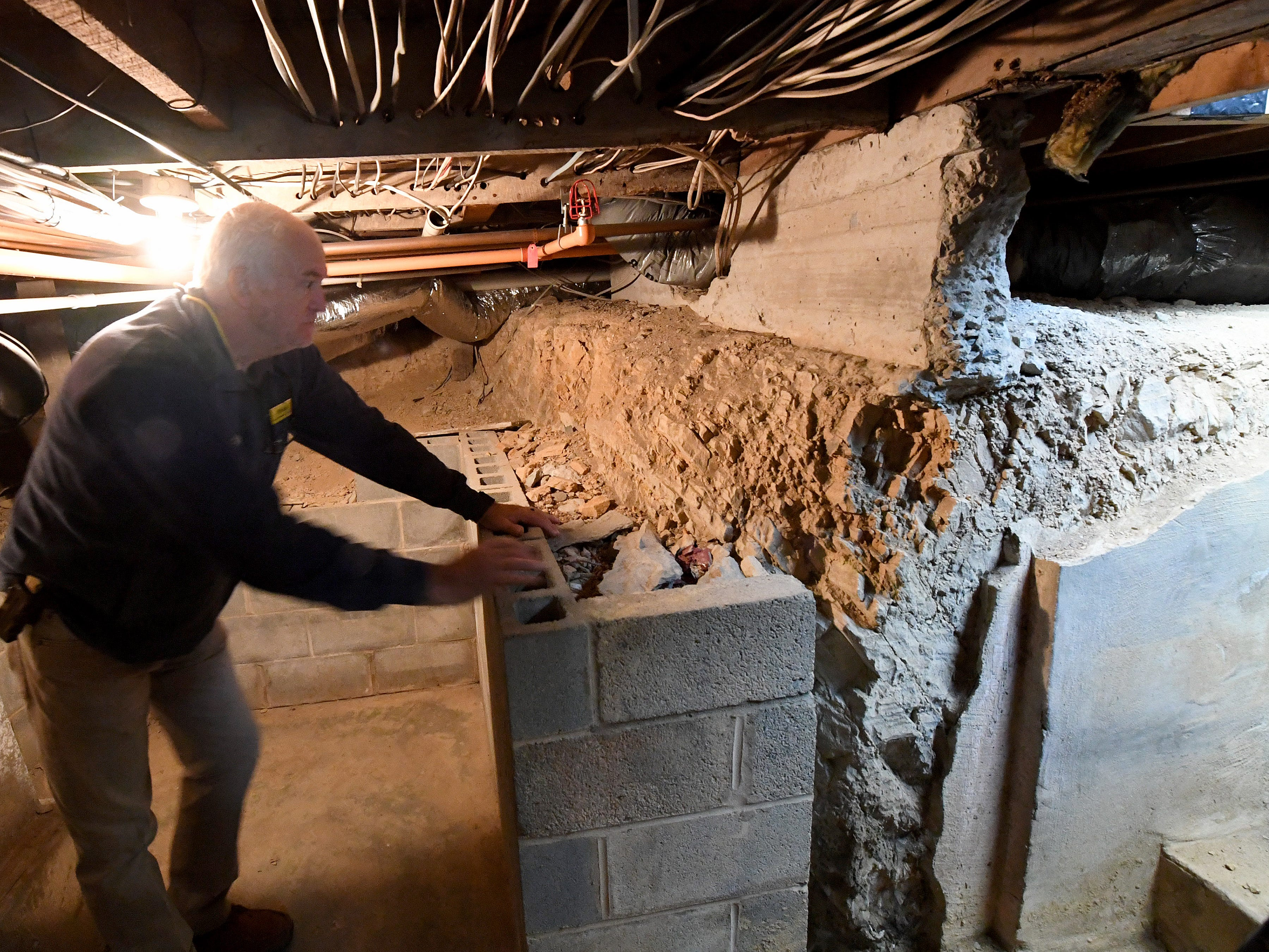 Co-owner and innkeeper Brian Westenberg talks about how the basement was originally dug out of the shale rock under the Inn at WestShire Farms in Staunton.