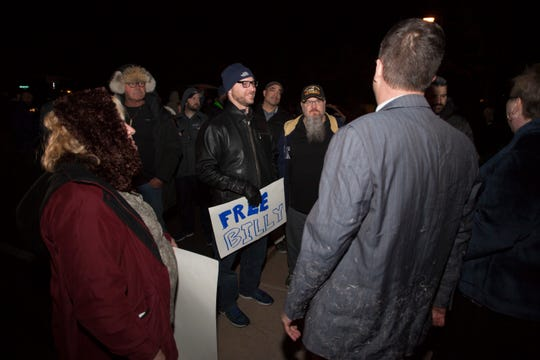 Bill Reel speaks to his supporters after his church disciplinary council in Washington Fields on Tuesday, Nov. 27, 2018.