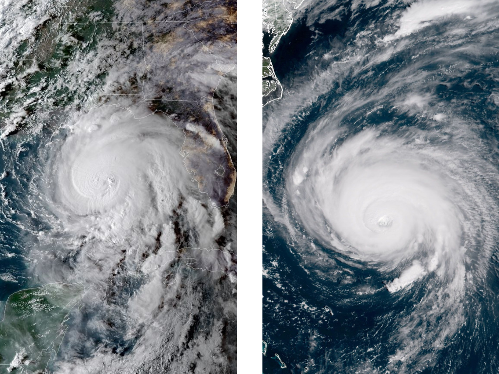 Side-by-side comparison of Hurricane Michael and Hurricane Florence
