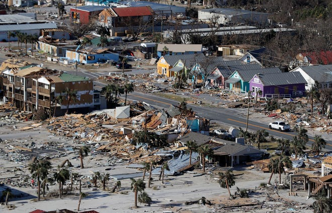 FILE - This Oct. 12, 2018 aerial file photo shows devastation from Hurricane Michael at Mexico Beach, Fla.