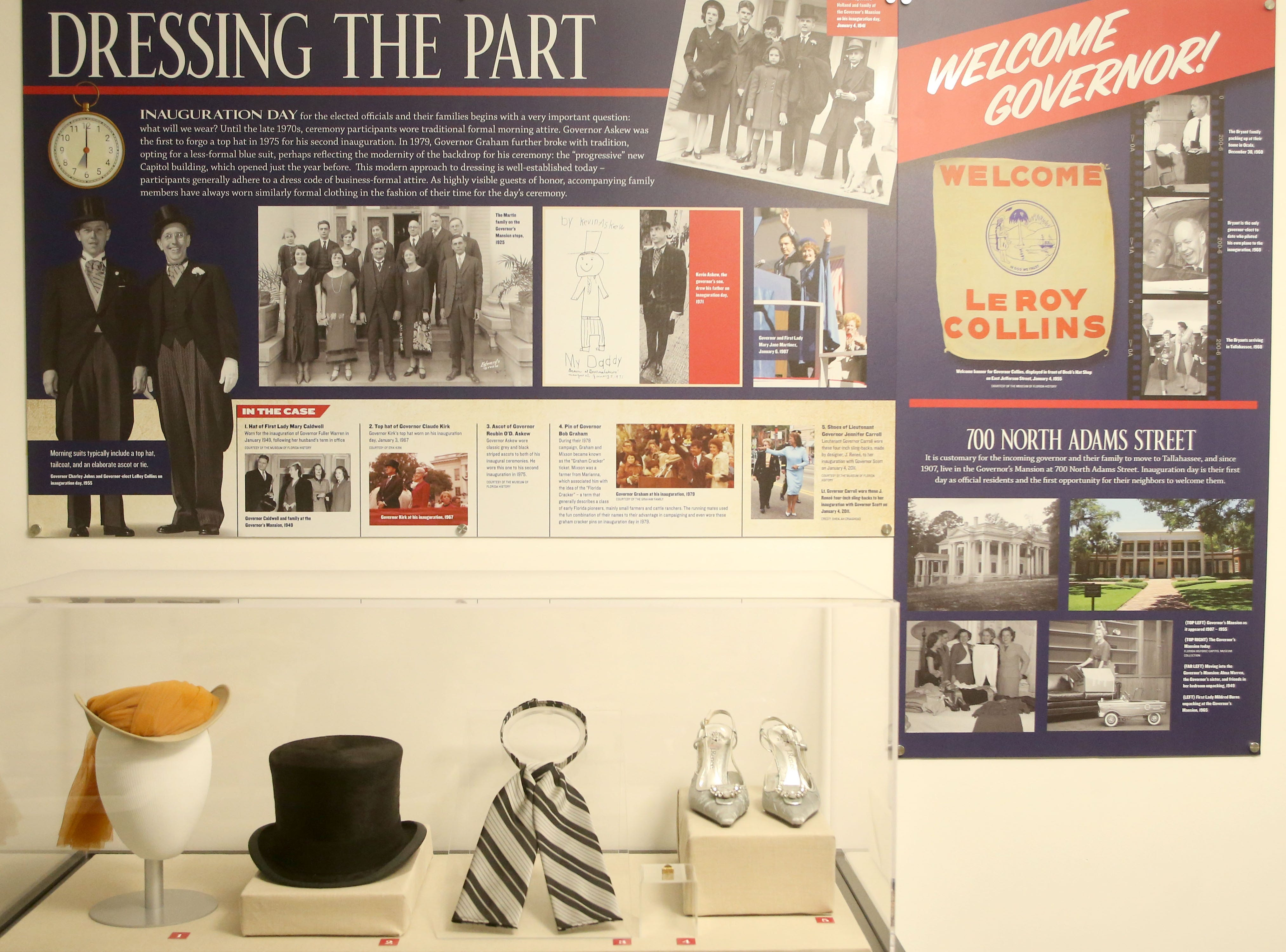 The Tallahassee historic Capitol hosts an exhibit on inaugurations of years past. Displayed in the case are hats, an Ascott, a pin, and shoes that were worn to previous inaugurations by governors or First Ladies. The women's hat, Ascott, and shoes were loaned by the Museum of Florida History for the exhibit, Wednesday, Nov. 28, 2018.