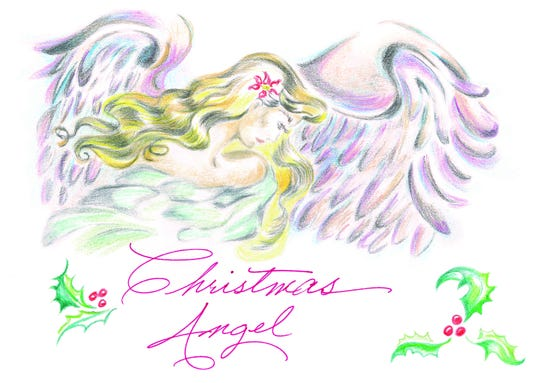 Deborah Heinz's colored pencil drawing of an angel is this year's winner for Life Care's centers in Florida. She drew the card design in about an hour and used a smudging technique with a cotton swab to add effects to it.