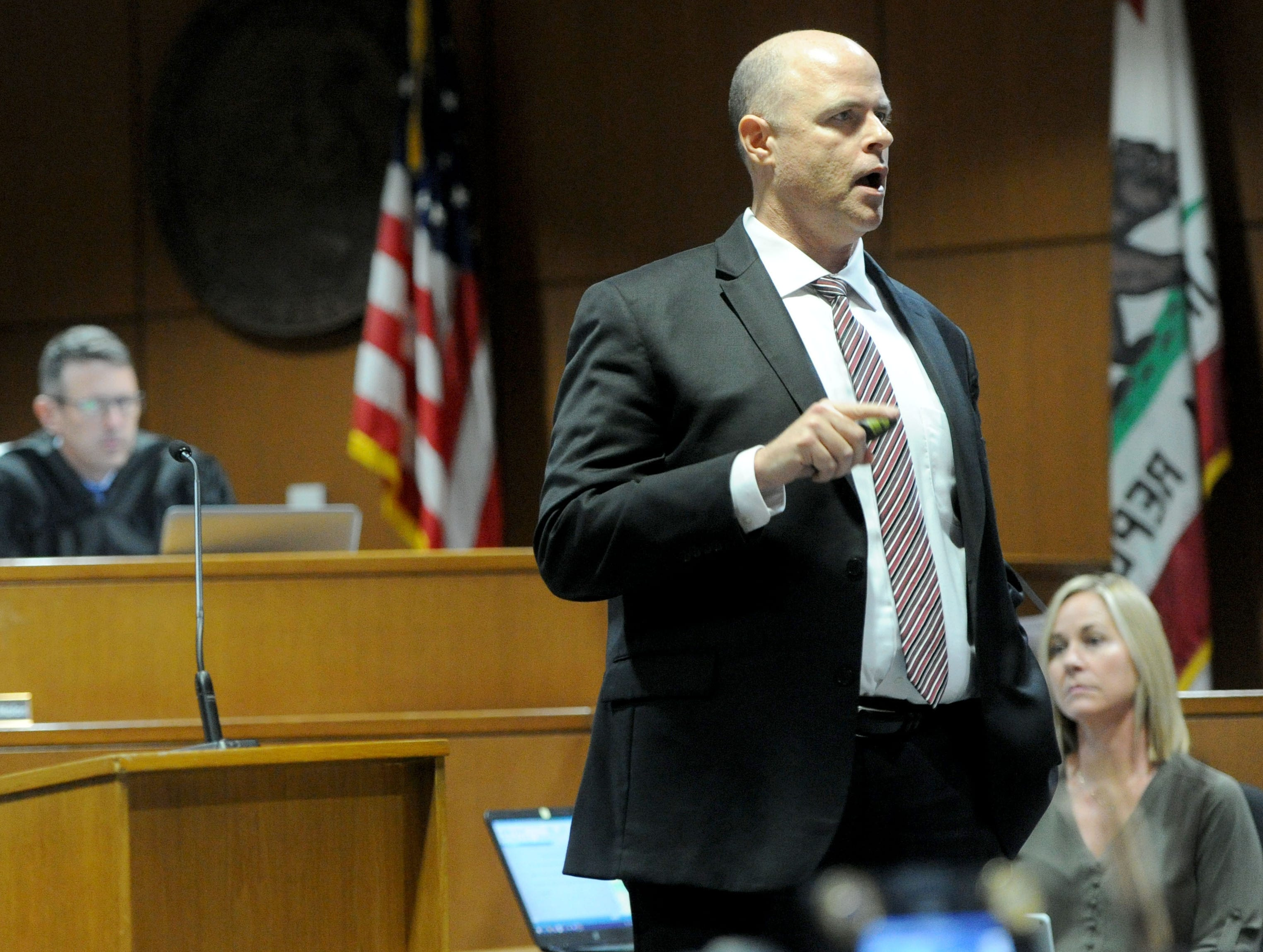 Senior Deputy District Attorney John Barrick looks at the jurors during his opening statements in Mayra Chavez's trial in Ventura County Superior Court. She is accused of killing her 3-year-old daughter Kimberly Lopez.