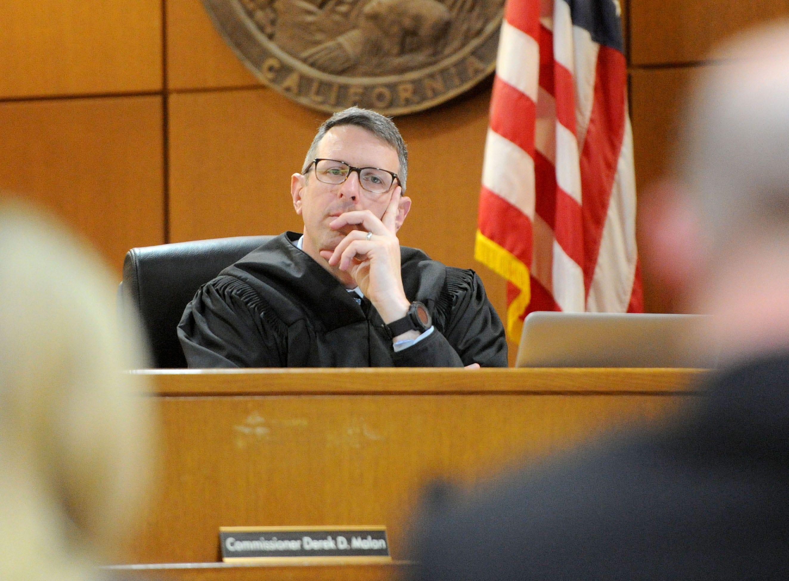 Commissioner Derek Malan listens to the opening statements Tuesday in the Mayra Chavez trial at Ventura County Superior Court. She is accused of killing her 3-year-old daughter Kimberly Lopez who authorities believe to be dead somewhere in Mexico.