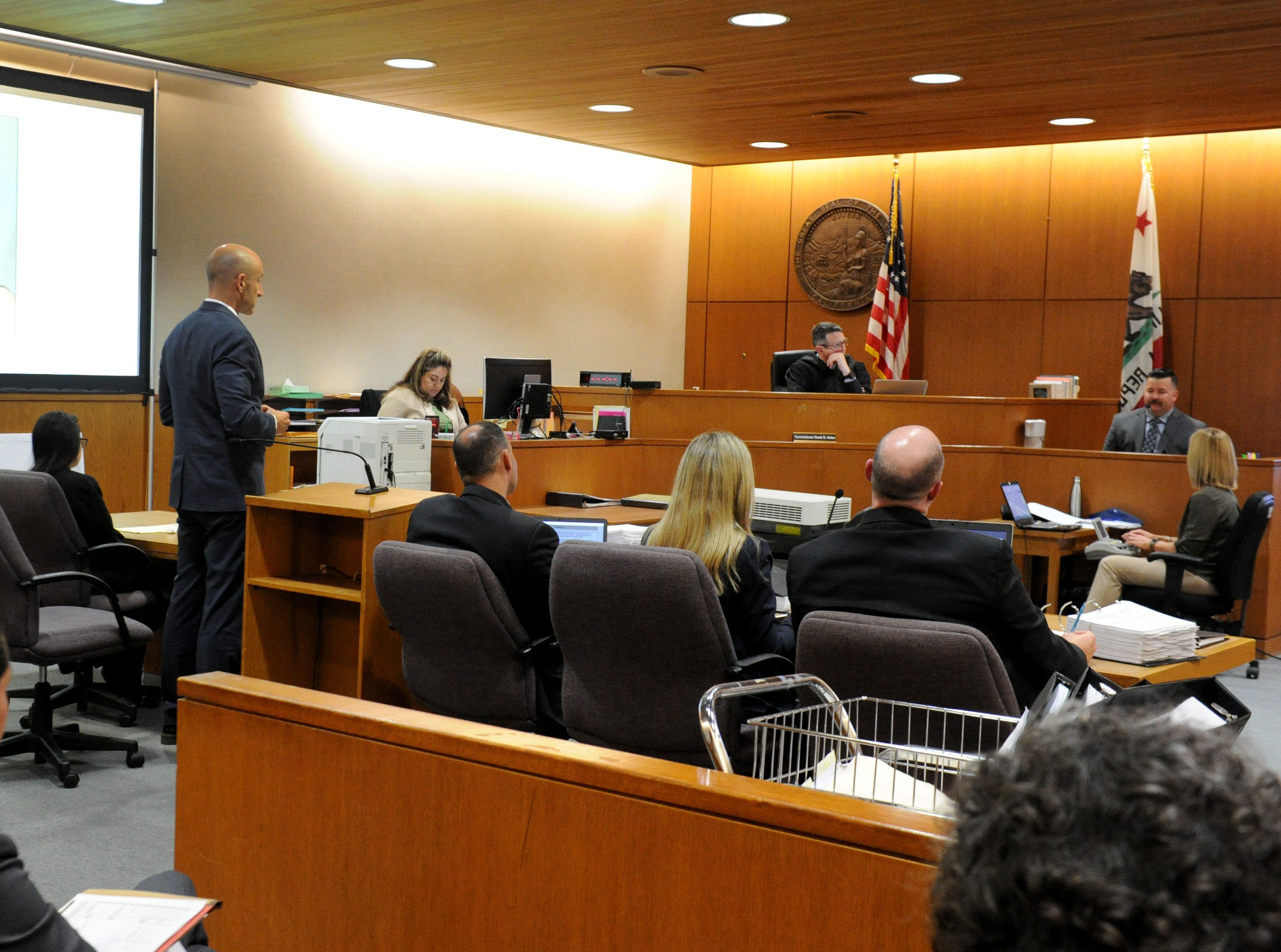 Deputy Public Defender Michael Albers questions a witness Tuesday in the Mayra Chavez trial at Ventura County Superior Court. She is accused of killing her 3-year-old daughter Kimberly Lopez who authorities believe to be dead somewhere in Mexico.