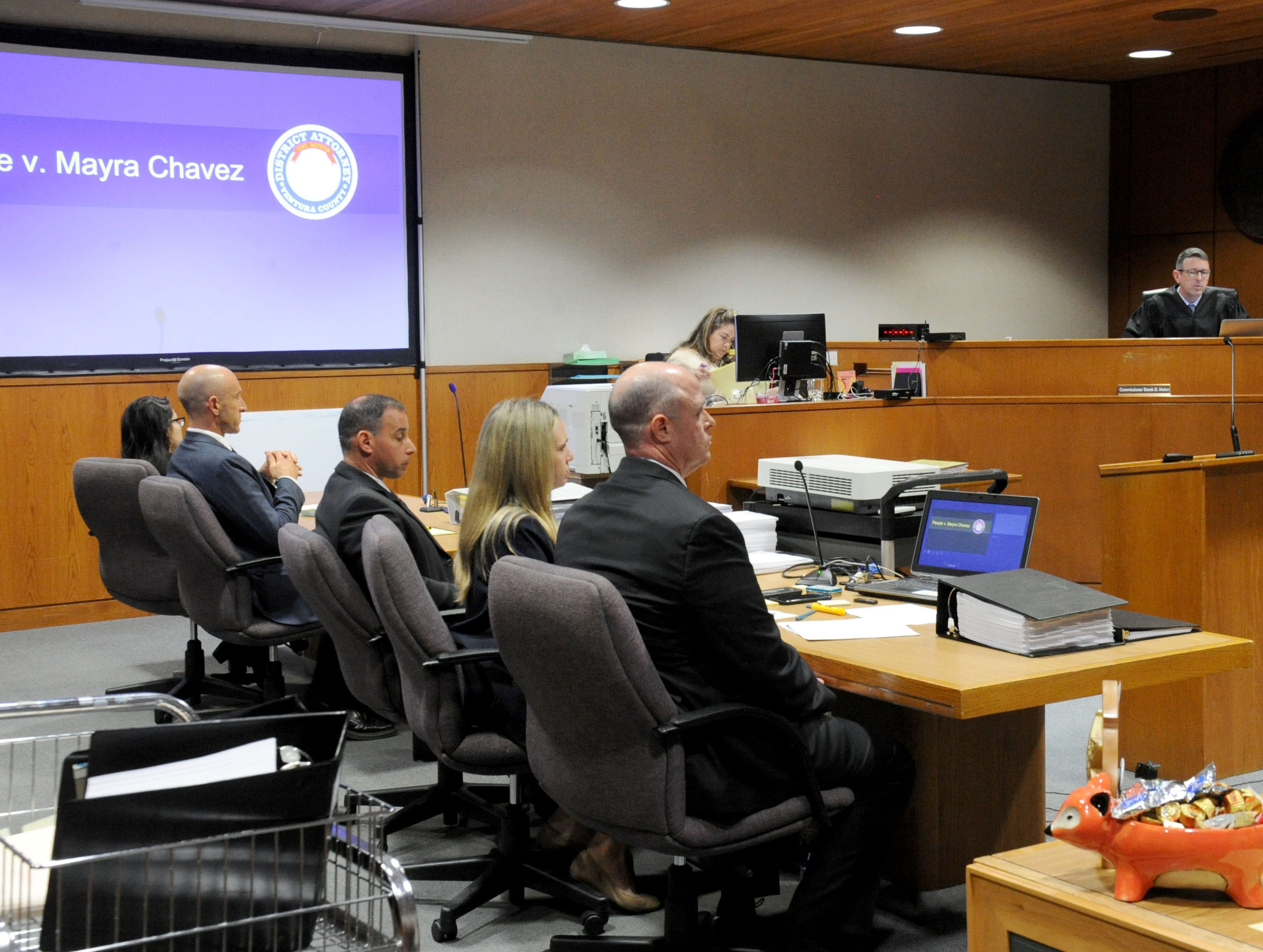 Attorneys in the Mayra Chavez trial wait for the jury to enter the courtroom Tuesday at Ventura County Superior Court. She is accused of killing her 3-year-old daughter Kimberly Lopez who authorities believe to be dead somewhere in Mexico.