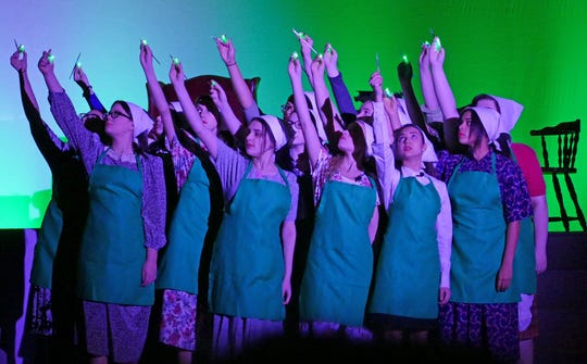"Cumberland Regional High School students rehearse an opening scene for the school's production of ""Radium Girls."""