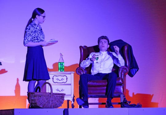 "Abigail Elwell and Chris Cline, as Mr. and Mrs. Roeder, rehearse a scene for Cumberland Regional High School's production of ""Radium Girls."""