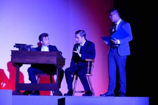 "Chris Cline, Jeffrey Horsman and Eric Chu, as Roeder, Lee and Markley, rehearse a scene for Cumberland Regional High School's production of ""Radium Girls."""