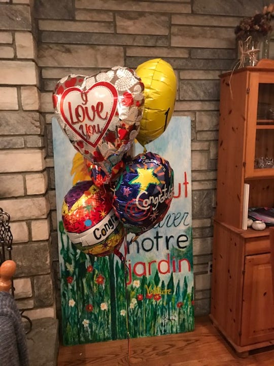 A balloon bouquet sent by Francesca Hagadus' sister to celebrate her win on the amount Pleasant Town Board stands in her living room in Pleasantville.