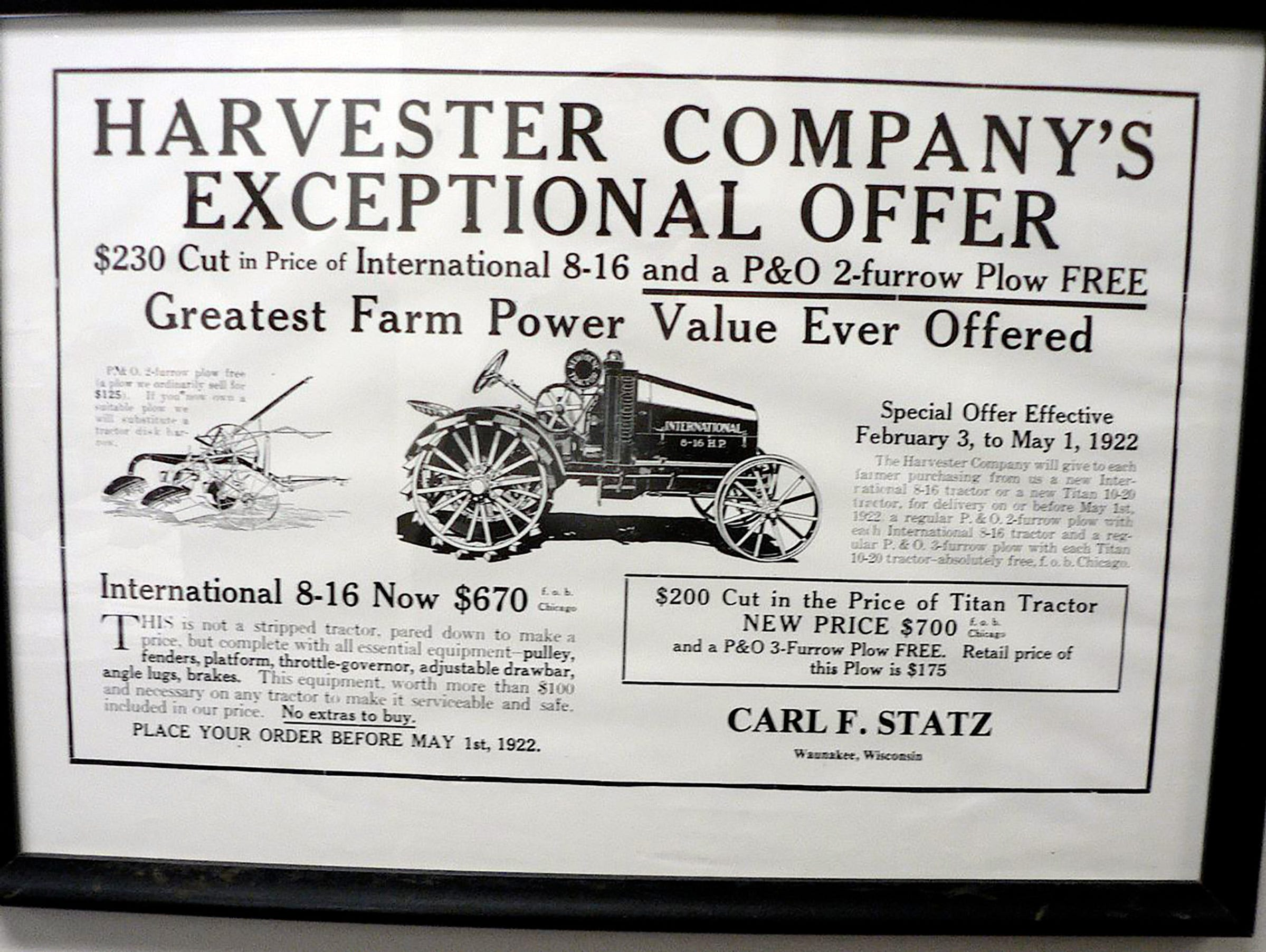 An International 8-16 from 1922 at $670.