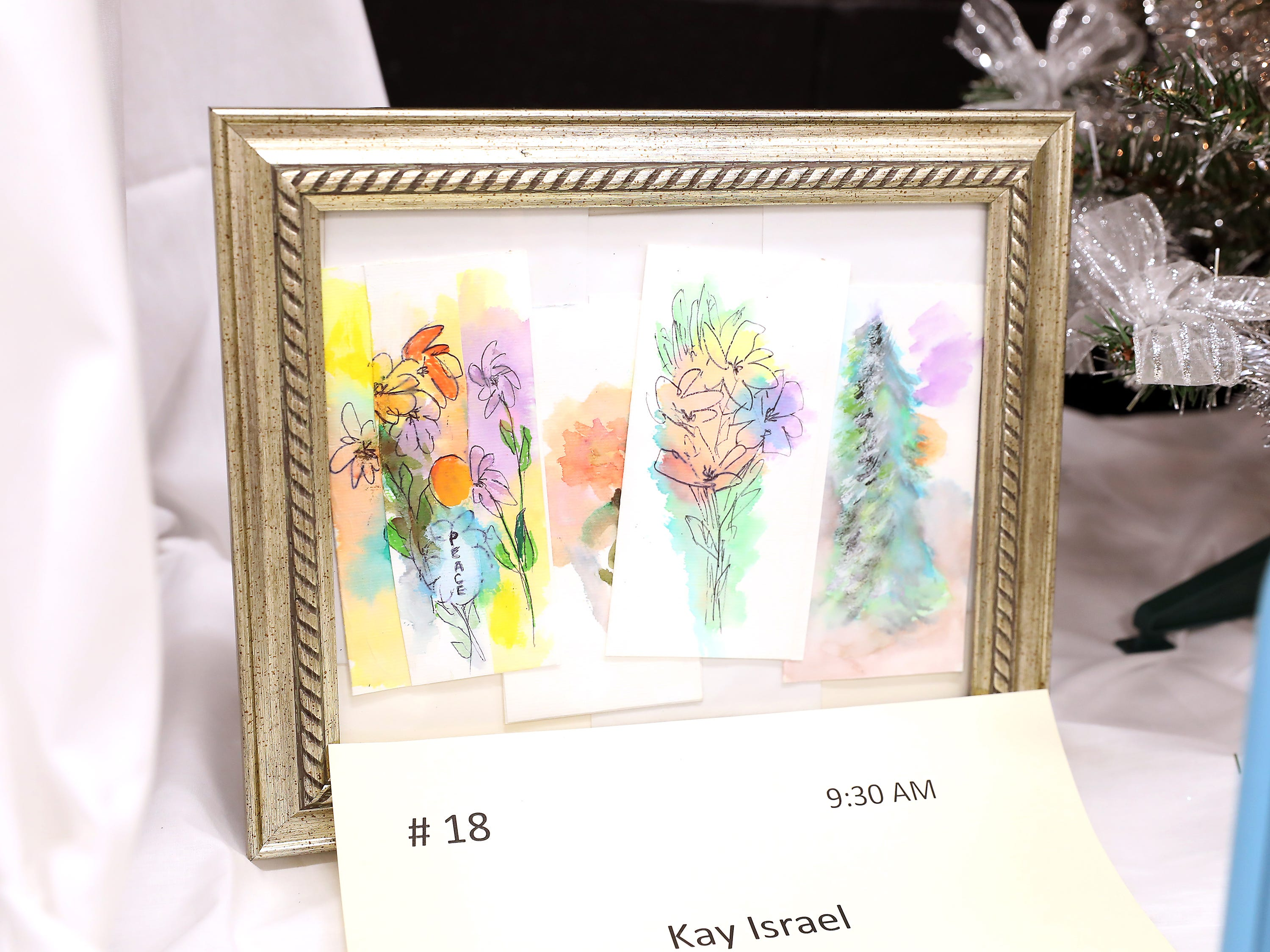 "18	9:30 AM	Kay Israel	Other	Original Watercolor Painting	Four notecards with original watercolor painting by Kay Israel.  Cards are 3""x6"" in size, three with floral designs and one with an evergreen tree.  Cards painted in 2018		$50 gift card to your choice of Adornetto's, Giacomo's, Old Market House Inn."