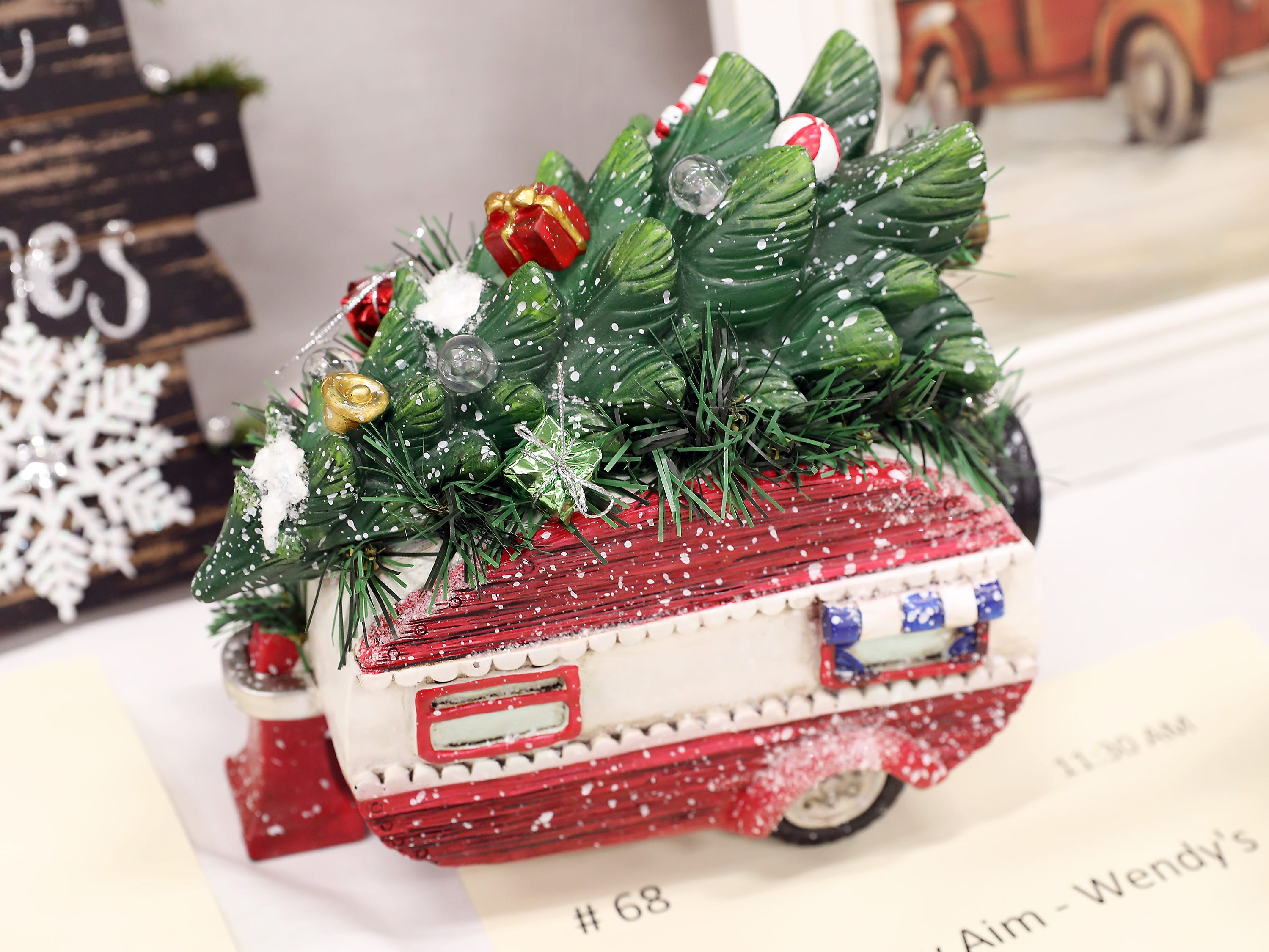 68	11:30 AM	Primary Aim - Wendy's	Other	A Camping Christmas	A cold cast ceramic vintage holiday camper, topped with a lighted tree shining with blue, green and red LED lights, along with packages for Clark and Cousin Eddie!		1 meal a month during 2019