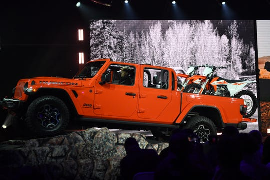 The Jeep Gladiator Rubicon is shown on stage during press preview day at Los Angeles Auto Show.
