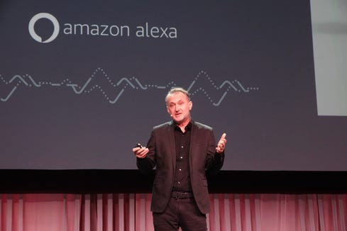Ned Curic, who runs Amazon's Echo division, addresses the L.A. Auto Show