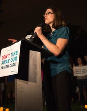 National Center for Transgender Equality Policy Director Harper Jean Tobin speaks at a health care rally in defense of the Affordable Care Act in July 2017.