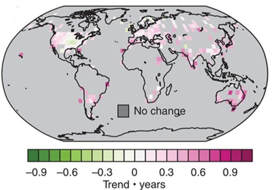 Areas where a combination of hot, dry conditions have increased are shown in pink and red on this world map.  This double-whammy has occurred in many locations around the world.