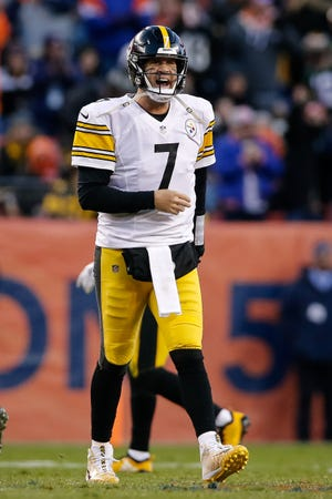 Pittsburgh Steelers quarterback Ben Roethlisberger (7) reacts after a play in the third quarter against the Denver Broncos at Broncos Stadium at Mile High.
