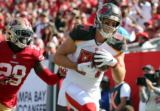 Buccaneers tight end Cameron Brate scored his fourth touchdown of the season on Sunday vs. the 49ers. However, he doesn't have more than three catches in any game this season.