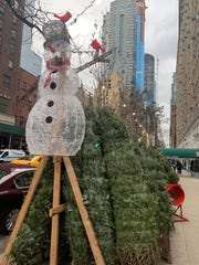 Unsold holiday trees line a New York City street.